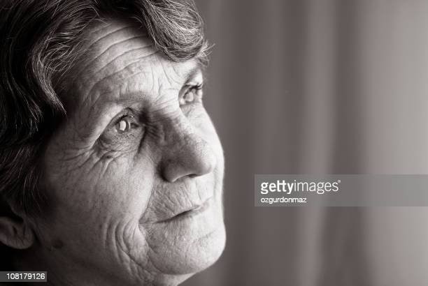 Senior Woman Looking Pensive, Black and White