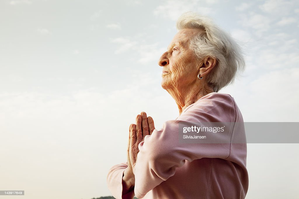 senior woman meditation morning
