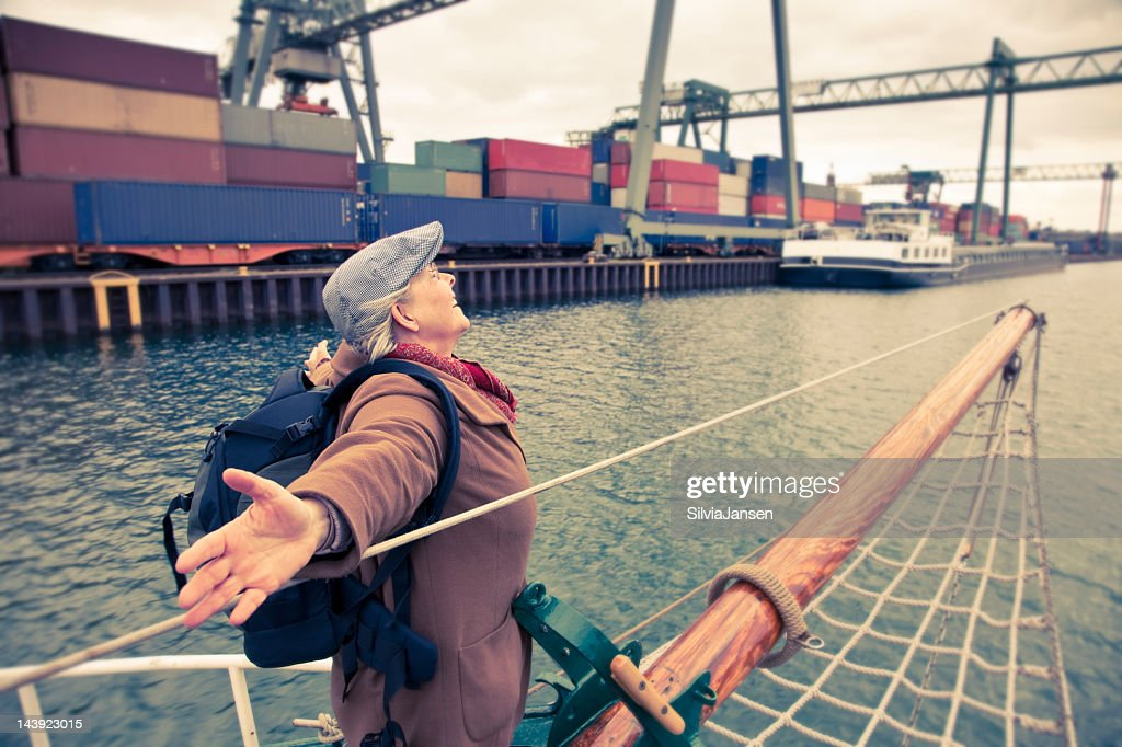 senior woman on boat : Stock Photo