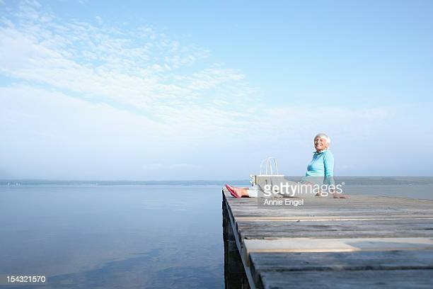 Senior woman on jetty
