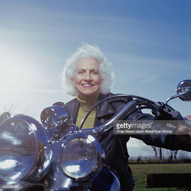 Senior Woman on Motorcycle