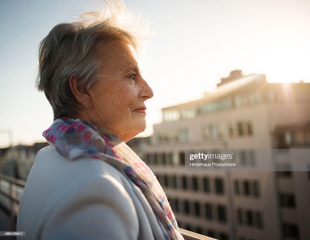 Senior Woman On Roofgarden