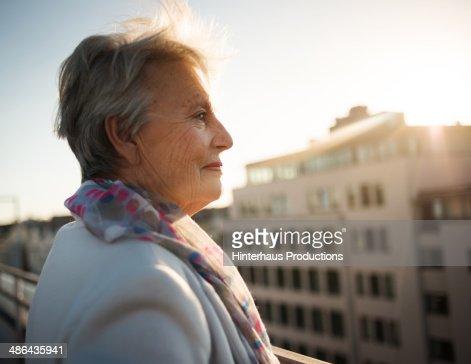Senior Woman On Roofgarden : Stock Photo