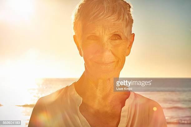 Senior woman on the beach, portrait