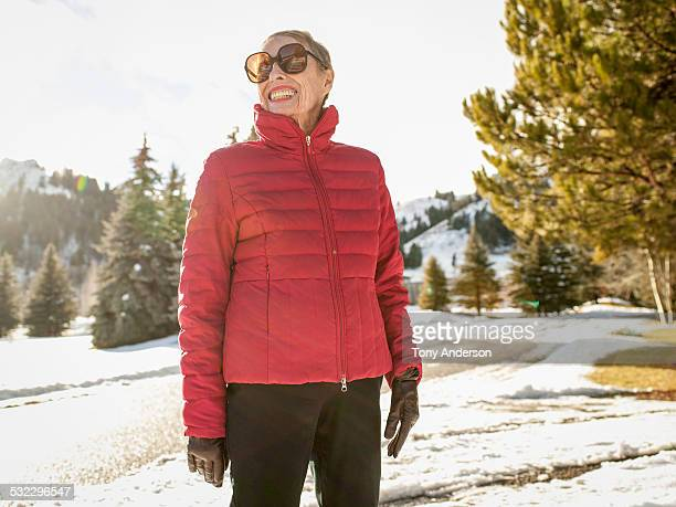 Senior woman outdoors in winter