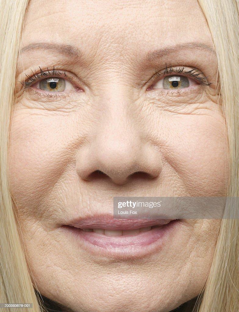 Closeup Portrait Of A: Senior Woman Portrait Closeup Stock Photo