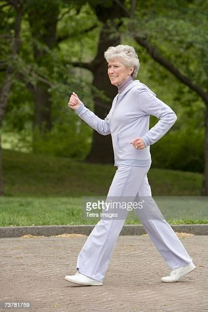 Senior woman power walking