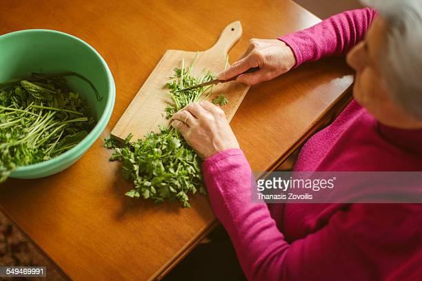Senior woman preparing a salad