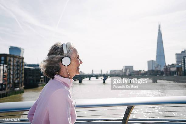 Senior Woman Running In London Downtown