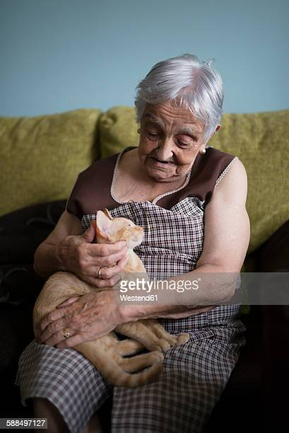 Senior woman stroking kitten lying on her lap