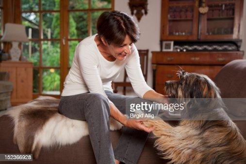 Senior woman teaching dog : Stock Photo