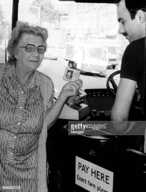 A senior woman travelling on the Bus using her bus pass 12th August 1984