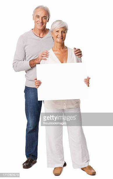 Senior Woman With a Blank Sign - Isolated