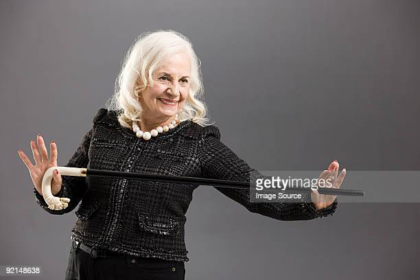 Senior woman with cane
