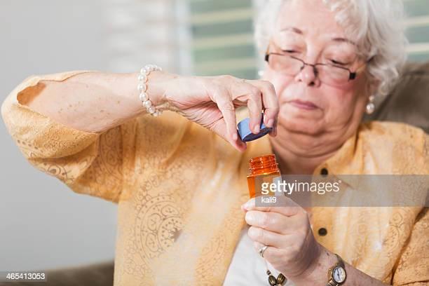 Senior woman with prescription medicine