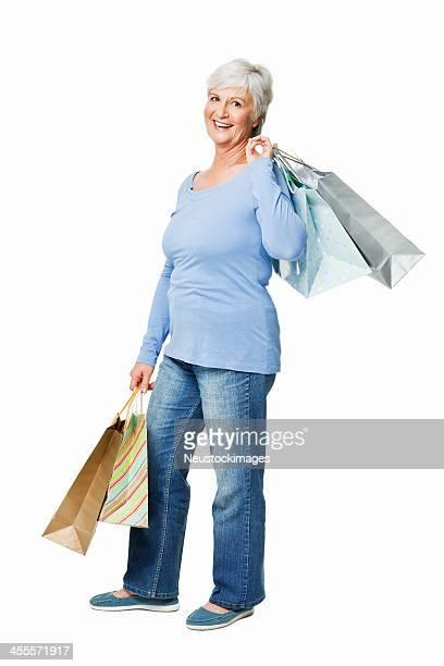 Senior donna con borse della spesa isolati