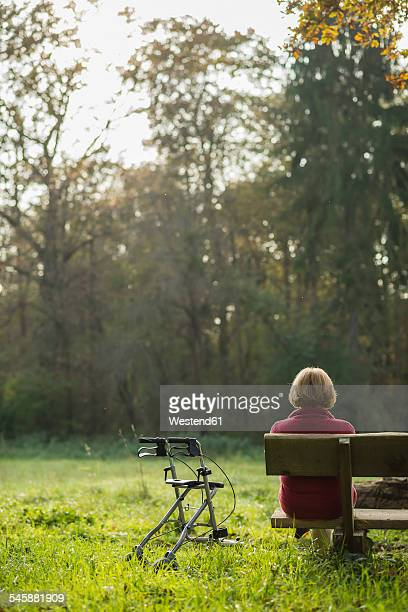 Senior woman with wheeled walker sitting on a park bench, back view