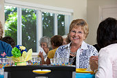 Senior women at a luncheon
