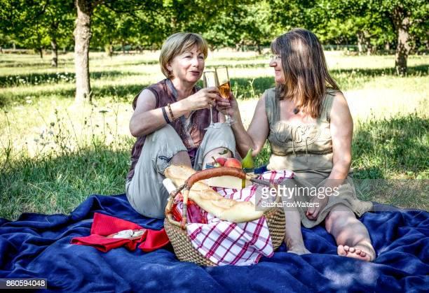 Senior women enjoying picnic