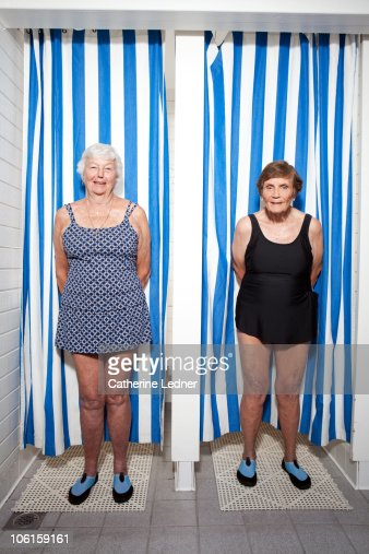 Senior women in bathing suits : Stock Photo