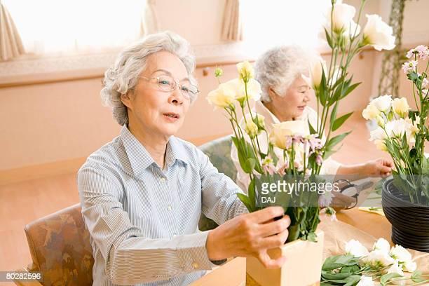 Senior women performing Japanese flower arrangement