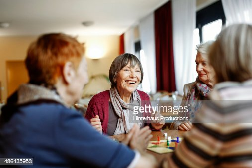 Senior Women Playing Board Game