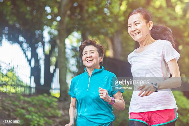 Senior women running in Yoyogi park