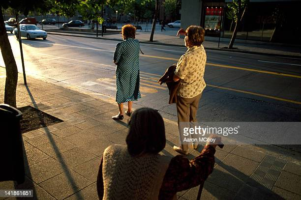 Senior women waiting for bus in Santiago, Chile, South America