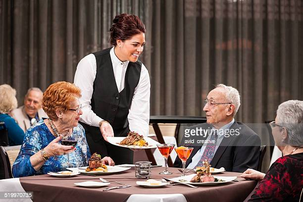 Seniors at Fine Dining Restaurant