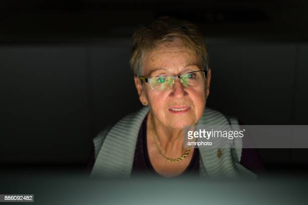 Seniors at Home - woman in front of computer monitor