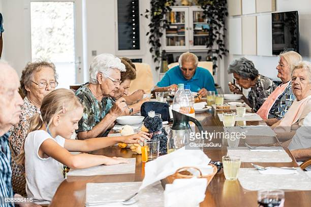 Seniors at Lunch in an Adult Daycare Center