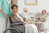 Seniors at recreation room at nursing home