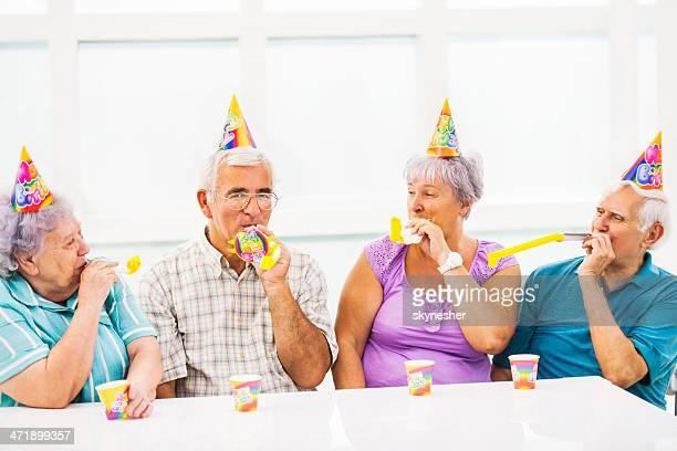 Seniors celebrating birthday.