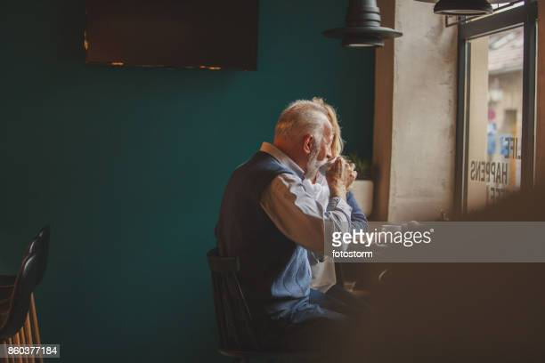 Seniors drinking coffee
