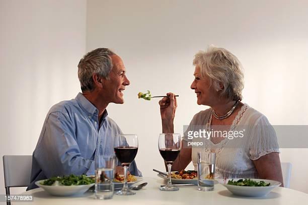 seniors eating evening meal