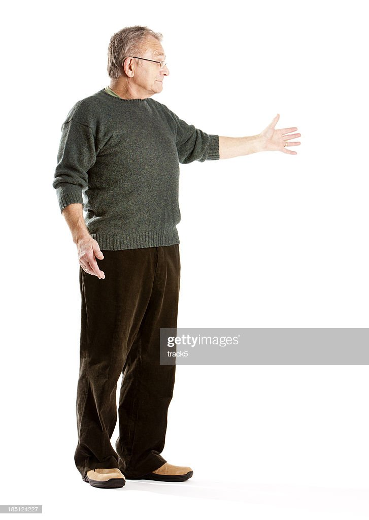seniors: elderly man presenting copy space