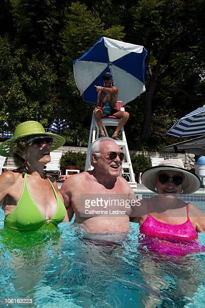 Seniors enjoying themselves in the pool