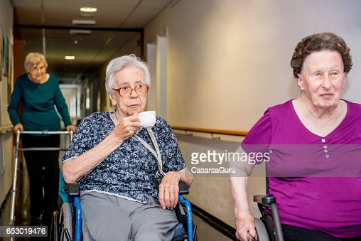 Seniors Having Break In The Retirement Home : Photo