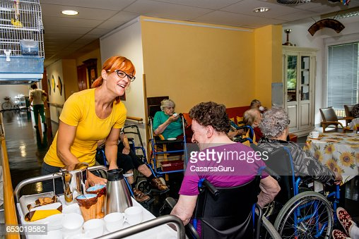 Seniors Having Break In The Retirement Home : Foto stock