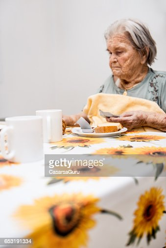Seniors Having Breakfast At The Nursing Home : Stock Photo