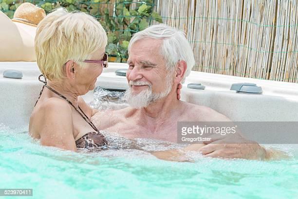 Seniors having fun at Jacuzzi