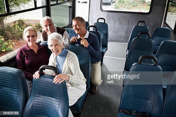 Seniors in shuttle bus