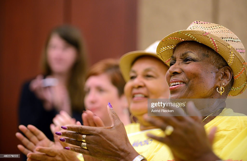 Seniors listen to Democratic House Leader Nancy Pelosi mark the 50th Anniversary of Medicare and Medicaid on Capitol Hill on July 29 2015 in...