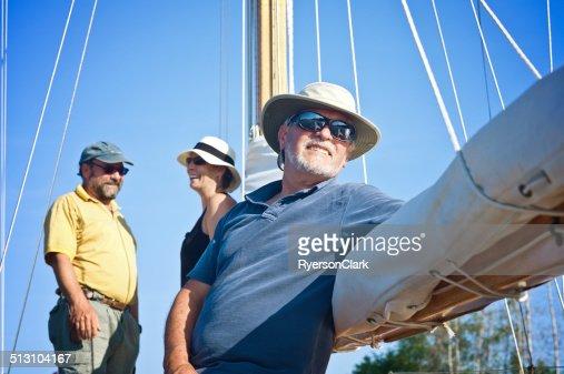 Seniors On A Sailboat Mahone Bay Nova Scotia Stock Photo ...