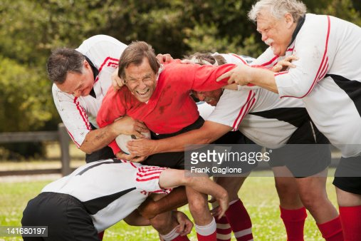 Seniors playing rugby. : Stock Photo