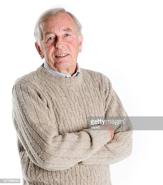 Senioren: Lächeln und Blickkontakt von einem freundlichen, älteren Mannes.