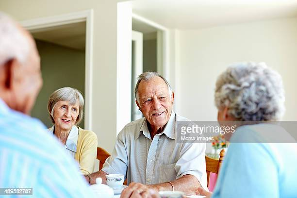 Seniors spending leisure time in nursing home