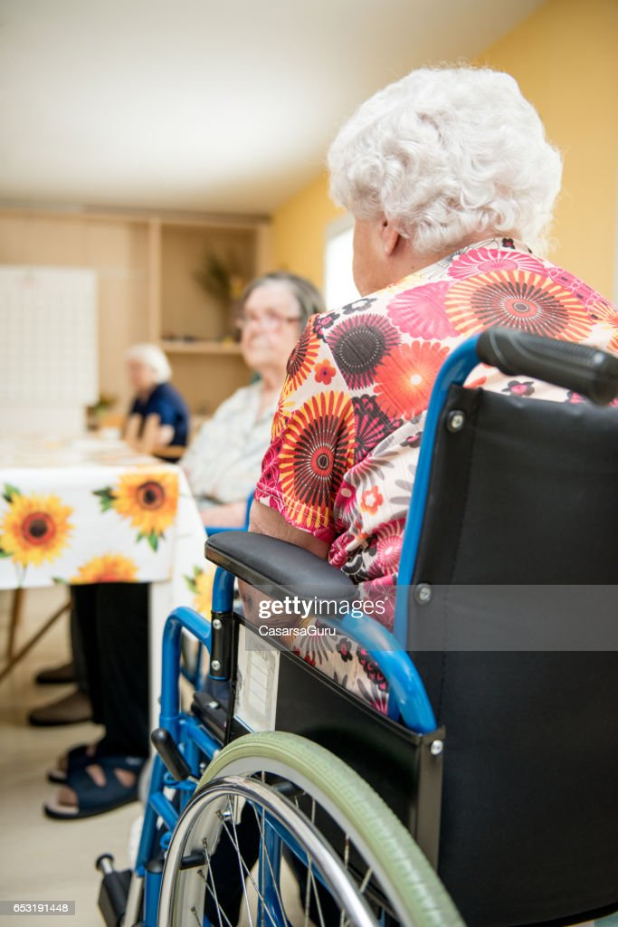 Seniors Waiting In The Dining Room At The Retirement Home : Stock Photo