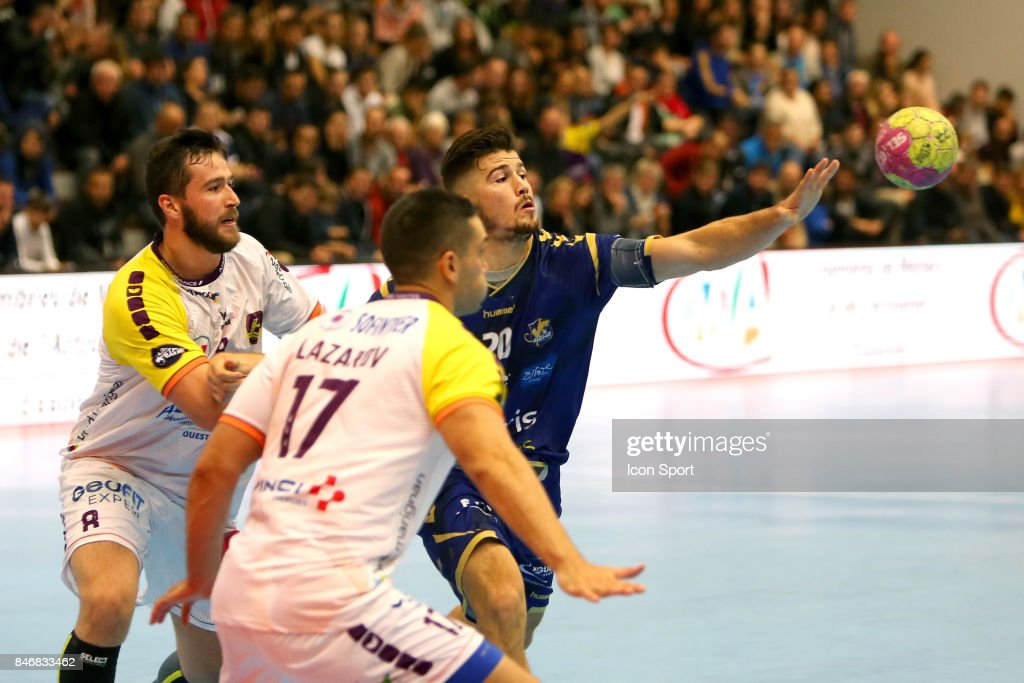 Senjamin Buric of Nantes and Johann Caron of Massy during Lidl Star Ligue match between Massy Essonne Handball and HBC Nantes on September 13, 2017 in Massy, France.
