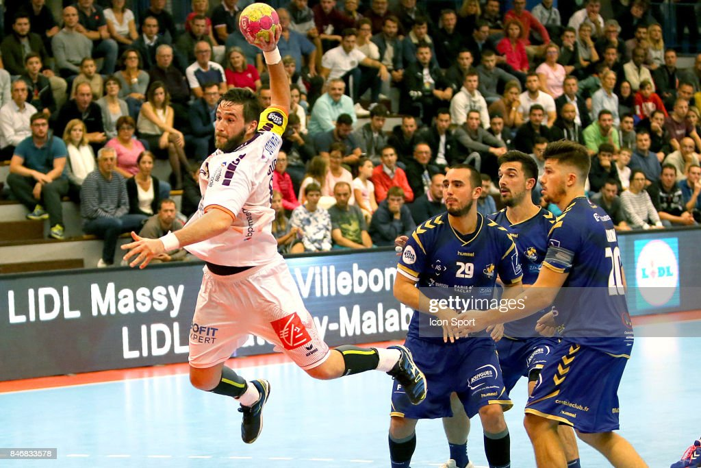 Senjamin Buric of Nantes, and Jules Portet, Etienne Lamy and Johann Caron of Massy during Lidl Star Ligue match between Massy Essonne Handball and HBC Nantes on September 13, 2017 in Massy, France.